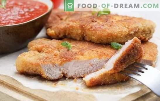Svinjski narezek v pečici - klasika! Izbor receptov svinjskih kotletov v pečici: panirani, z omako in zelenjavo