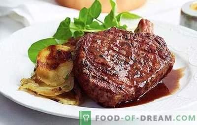 Svinjski entrecot v pečici in ponvi: skrivnost okusa. Recepti za priloge in omake za svinjski entrecote v ponvi