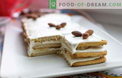 Torta brez pečenja piškotov in kisle smetane v 15 minutah! Recepti peciva brez peke piškotkov in kisle smetane s čokolado, bananami, orehi