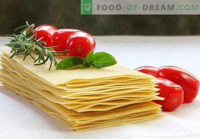 Lasagna testa - pravi recepti. Kako hitro in okusno kuhamo testo za lazanje.