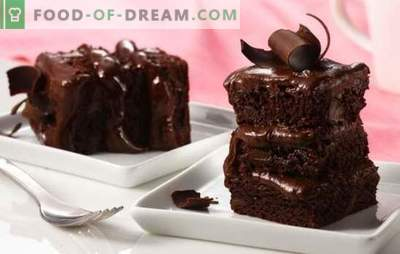 Zelfgemaakte chocoladetaart - een verleidelijk dessert! Eenvoudige recepten voor chocoladecake met gebak, assortiment, gelei