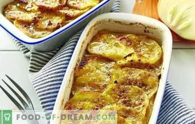 Mleto meso v pečici s krompirjem (recept po korakih): veliko možnosti. Nadev v pečici s krompirjem (korak za korakom): v obliki in loncih