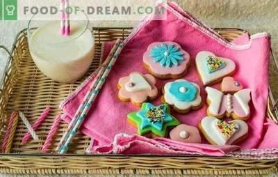 Barvna glazura: spektakularna, prijetna za oči. Recepti barvne glazure in sladice z njim: piškoti, arašidi, scones, jogurt torta