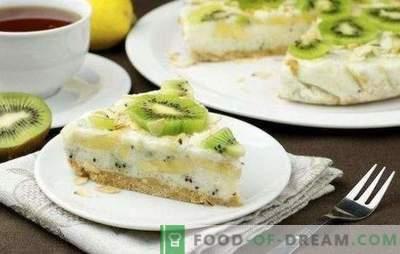 Torta s kivijem in banano - sladka, dišeča in sveža! Recepti za skuto, piškote, jogurt, leni kivi in banane
