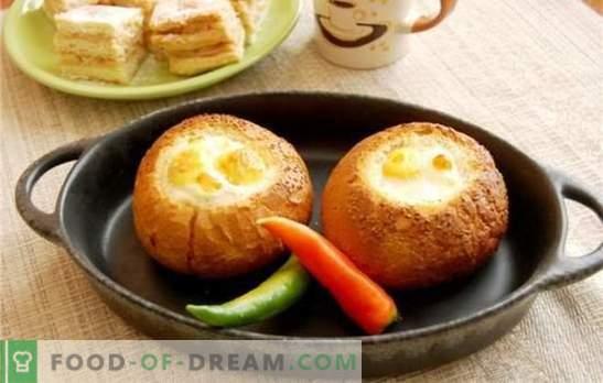 Umešana jajca v kruhu - če je preprosta utrujena! Recepti izvirnih pečenih jajc v kruhu s sirom, klobaso, paradižnikom