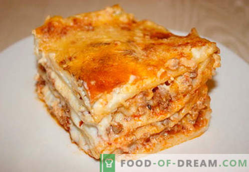 Lasanja z mletim mesom - pravi recepti. Kako hitro in okusno kuhamo lazanjo z mletim mesom.