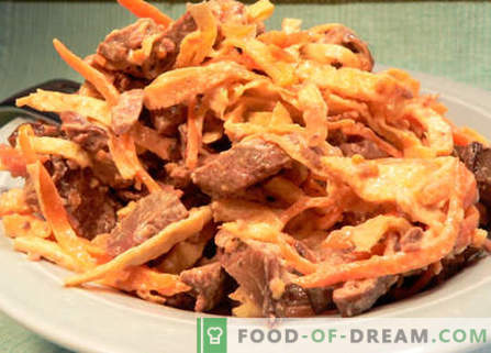 Ensalada con hígado y zanahorias - las mejores recetas. Cómo preparar correctamente y sabroso una ensalada con hígado y zanahorias.