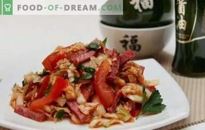 Preprosta solata s klobaso - predjed za ljubitelje klobas. Najboljši recepti za preproste solate s klobaso: kuhano, dimljeno