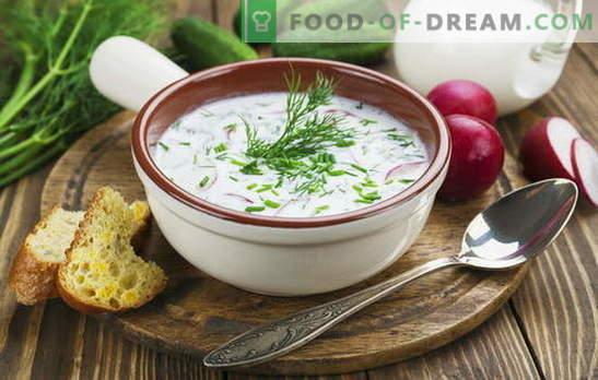 Okroška, juha iz rdeče pese in druge juhe na kefirju, zelenjavi in mesu. Italijanski, španski in ruski recepti za juhe na kefirju