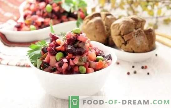 Classic Vinaigrette: žingsnis po žingsnio receptas ryškiausioms salotoms. Kepimo klasikinės salotos su žingsnis po žingsnio receptai su kopūstais ir agurkais