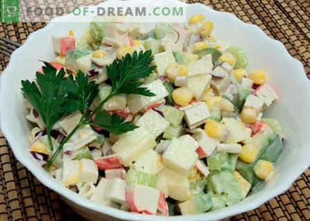Solata z avokadom in rakovimi palicami - najboljši recepti. Kako pravilno in okusno pripraviti solato iz avokada in rakovice.