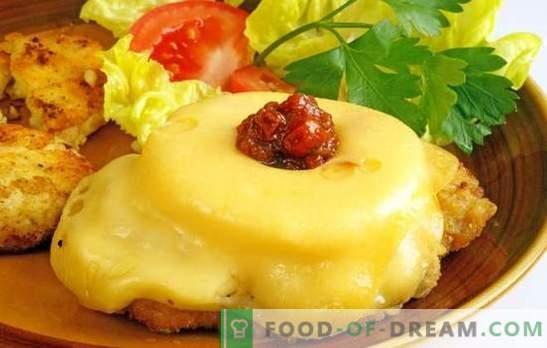 Odrezki z ananasom in sirom - jed za počitnice! Recepti za zrezke z ananasovim in svinjskim sirom, piščancem, teletino
