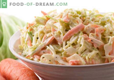 Zeljena solata z majonezo - najboljši recepti. Kako pravilno in okusno kuhano solato z zelje in majonezo.