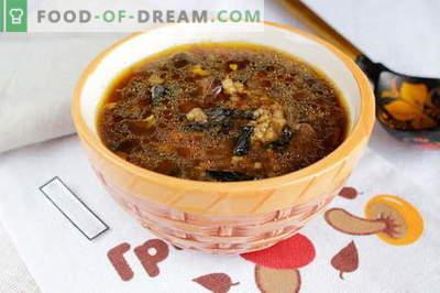Gedroogde champignonsoep - de beste recepten. Hoe goed en smakelijk soep van gedroogde paddestoelen koken.