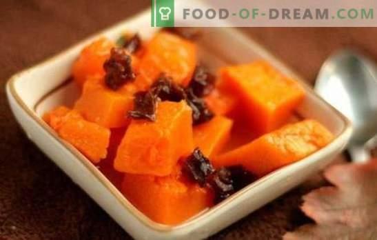 Buča s suhimi slivami - morje okusa in koristi! Recepti za dušene, pečene in pečene jedi iz bučnih in suhih oljk